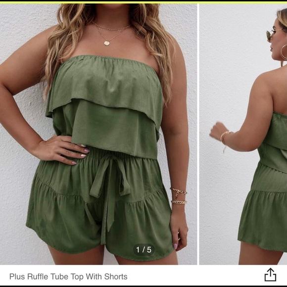 Women's Plus Ruffle Tube Top & Shorts Set